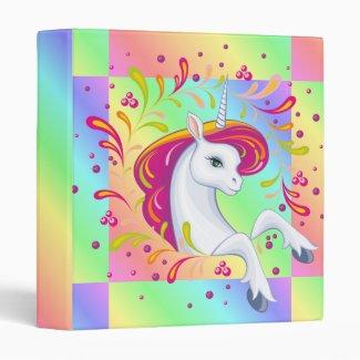 Beautiful Pastel Unicorn 3 Ring Binder