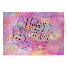 Beautiful Pastel Watercolor Birthday Card