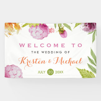 Beautiful Pastel Watercolor Floral Wedding Party Banner