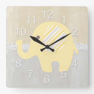 Beautiful Pastel Yellow Baby Neutral Elephant Square Wall Clock