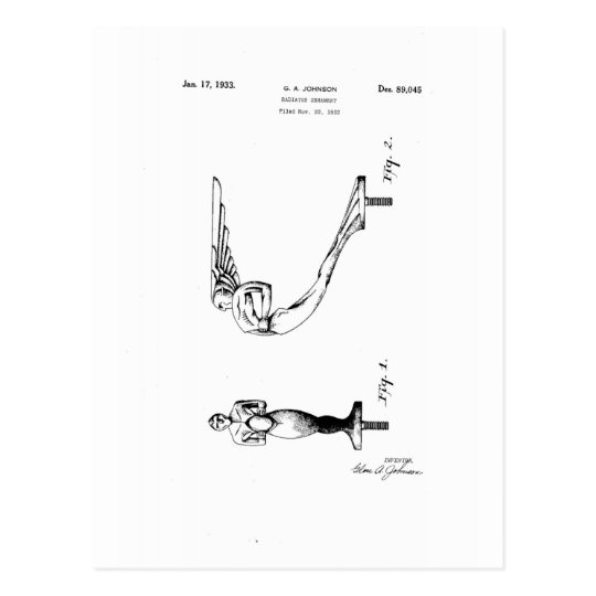 Beautiful patent drawing of design for a radiator postcard