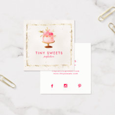 ★ Beautiful  Patisserie ,bakery ,cakes & Sweets Square Business Card at Zazzle
