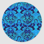 BEAUTIFUL PATTERN - Black & Blue Classic Round Sticker