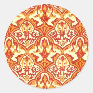 BEAUTIFUL PATTERN - Red & Orange Classic Round Sticker