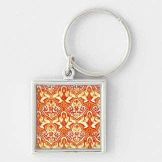 BEAUTIFUL PATTERN - RED & ORANGE Silver-Colored SQUARE KEYCHAIN