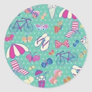 Beautiful Pattern With Summer Elements Classic Round Sticker