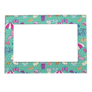 Beautiful Pattern With Summer Elements Magnetic Photo Frame