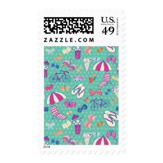 Beautiful Pattern With Summer Elements Postage Stamps