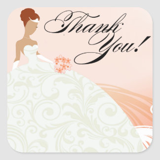 Beautiful Peach and White Luxe Thank You Square Sticker