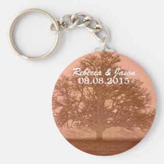 Beautiful peach colored abstract tree in field basic round button keychain