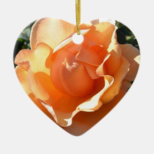 Beautiful Peach Rose Heart Ornament