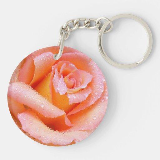 Beautiful Peachy Pink Rose Keychina Keychain