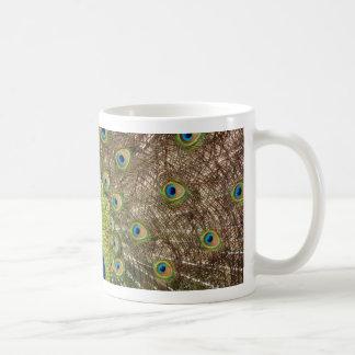 Beautiful peacock and tail feathers print classic white coffee mug