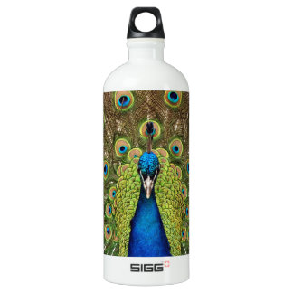 Beautiful peacock and tail feathers print water bottle