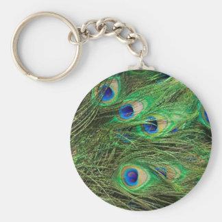Beautiful Peacock Basic Round Button Keychain