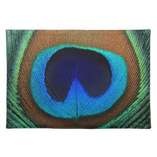 Beautiful peacock feather place mat