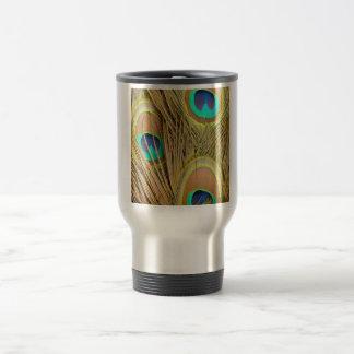 beautiful peacock feathers 15 oz stainless steel travel mug