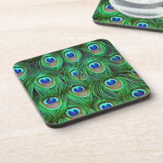 Beautiful Peacock Feathers Drink Coaster
