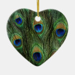 Beautiful Peacock Feathers Double-Sided Heart Ceramic Christmas Ornament