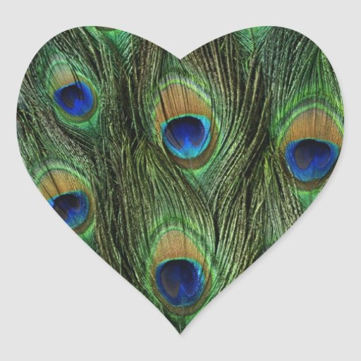 Beautiful Peacock Feathers Heart Sticker