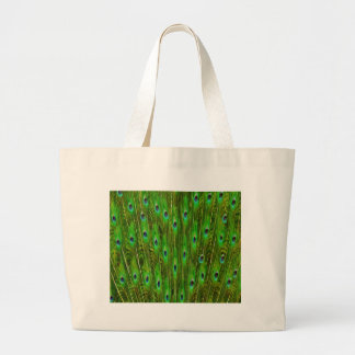 Beautiful Peacock Feathers Large Tote Bag