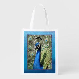 Beautiful Peacock Reusable Grocery Bags