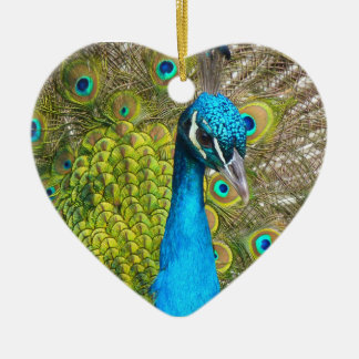 Beautiful Peacock Stunning Green Bird Ceramic Ornament