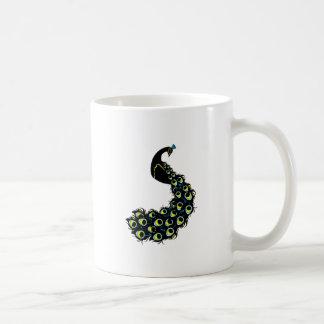 Beautiful peacock with large feathers classic white coffee mug