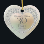"Beautiful Pearl 30th Anniversary Ceramic Ornament<br><div class=""desc"">Featuring a beautiful pearl,  this chic 30th wedding anniversary keepsake can be personalised with your special pearl anniversary information on a pearl background. Designed by Thisisnotme©</div>"