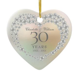 Beautiful Pearl 30th Anniversary Ceramic Ornament