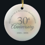 """Beautiful Pearl 30th Anniversary Ceramic Ornament<br><div class=""""desc"""">Featuring a beautiful pearl,  this chic 30th wedding anniversary keepsake can be personalised with your special pearl anniversary information on a pearl background. Designed by Thisisnotme©</div>"""