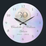 """Beautiful Pearl 30th Anniversary Large Clock<br><div class=""""desc"""">Featuring a beautiful pearl,  this chic 30th wedding anniversary clock can be personalised with your special pearl anniversary information on a pearl background. Designed by Thisisnotme©</div>"""