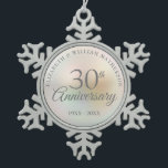"""Beautiful Pearl 30th Anniversary Snowflake Pewter Christmas Ornament<br><div class=""""desc"""">Featuring a beautiful pearl,  this chic 30th wedding anniversary keepsake can be personalised with your special pearl anniversary information on a pearl background. Designed by Thisisnotme©</div>"""