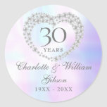 """Beautiful Pearl Heart 30th Anniversary Classic Round Sticker<br><div class=""""desc"""">Featuring a beautiful pearl heart,  this chic 30th wedding anniversary sticker can be personalised with your special pearl anniversary information on a pearl background. Designed by Thisisnotme©</div>"""