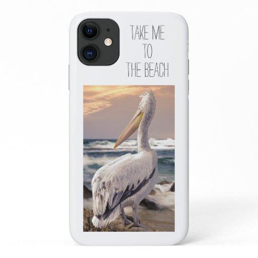 Beautiful Pelican Beach Ocean Waves Sunset iPhone 11 Case