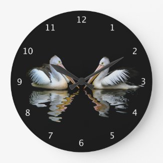 Beautiful pelicans reflected on black water, gift clocks