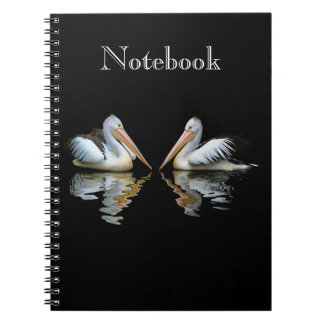 Beautiful pelicans reflection on black custom notebook