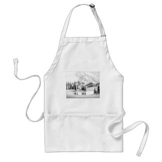 Beautiful Pencil Drawing of Mount Rainier Adult Apron