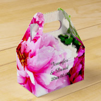 Beautiful Peonies Wedding Gable Favor Box