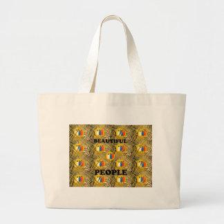 Beautiful People African Traditional Motif Colors  Jumbo Tote Bag