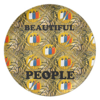 Beautiful People African Traditional Motif Colors  Plate