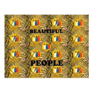 Beautiful People African Traditional Motif Colors Postcard