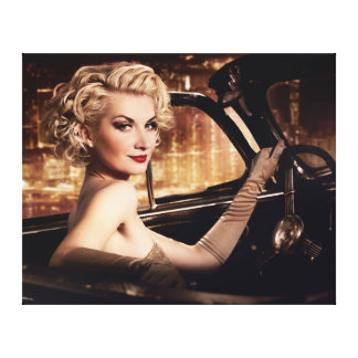 Beautiful People Retro Woman in Convertible Canvas Print