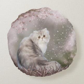 Beautiful persian kitty cat round pillow
