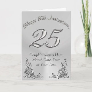 Beautiful PERSONALIZED 25th Anniversary Cards
