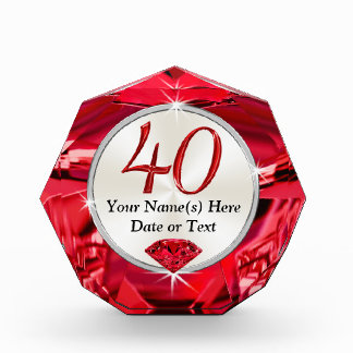 Beautiful Personalized 40th Birthday Ideas for Her Award