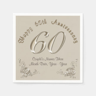 Beautiful Personalized 60th Anniversary Napkins