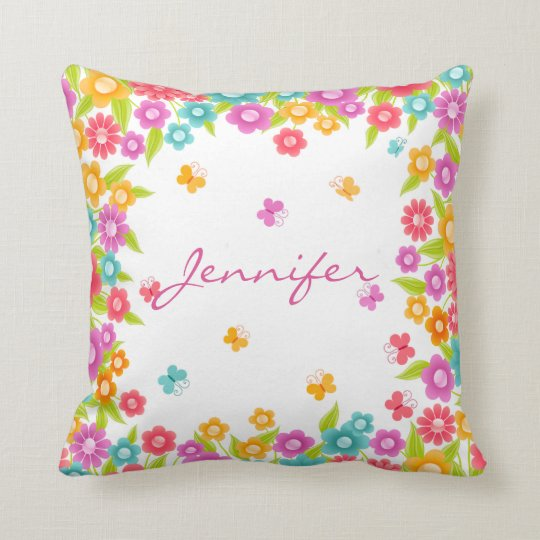 Beautiful Personalized Foral Throw Pillow