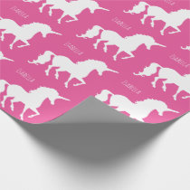 Beautiful Personalized Pink Unicorn Silhouette Wrapping Paper