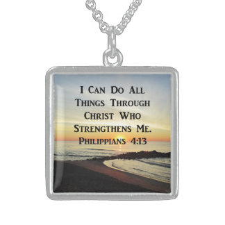 BEAUTIFUL PHILIPPIANS 4:13 PHOTO DESIGN STERLING SILVER NECKLACE